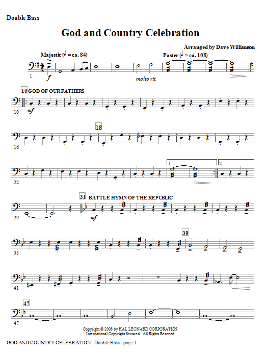 God And Country Celebration (Medley) - Alto Sax (Horn sub) Sheet Music