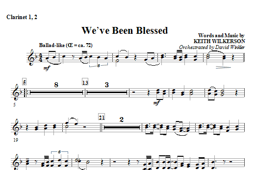 We've Been Blessed - Bb Clarinet 1,2 Sheet Music