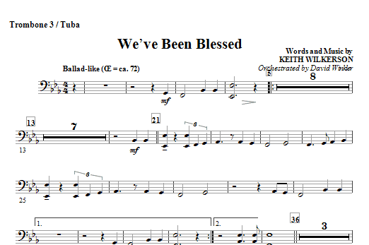 We've Been Blessed - Trombone 3/Tuba Sheet Music