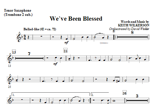 We've Been Blessed - Tenor Sax (Trombone 2 sub) Sheet Music