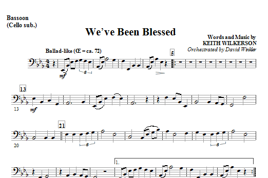 We've Been Blessed - Bassoon (Cello Sub) Sheet Music