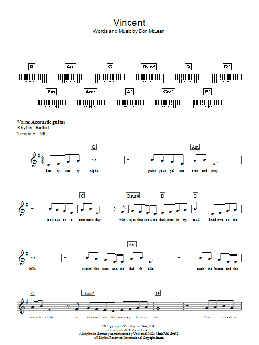 Vincent (Starry Starry Night) | Sheet Music Direct