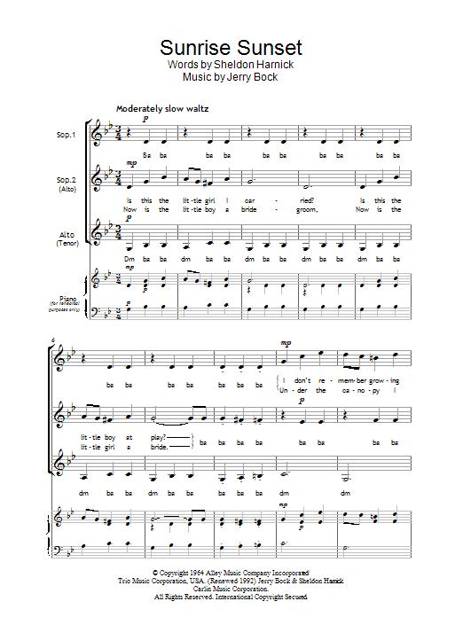 Sunrise, Sunset (from Fiddler On The Roof) (SSA Choir)