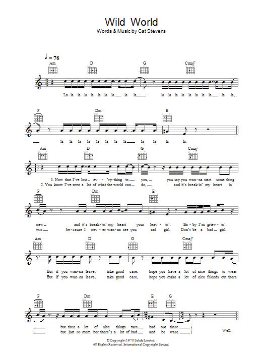 Wild World Chords By Cat Stevens Melody Line Lyrics Chords 43802