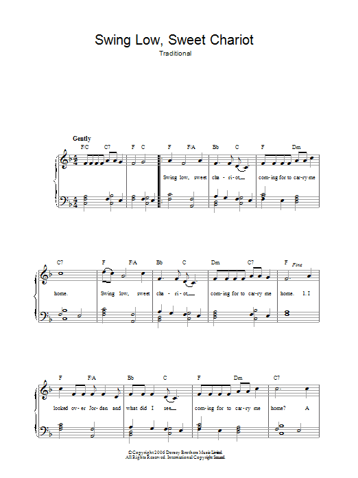 Swing Low, Sweet Chariot (Easy Piano)