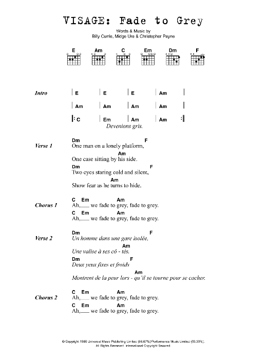 Fade To Grey Sheet Music