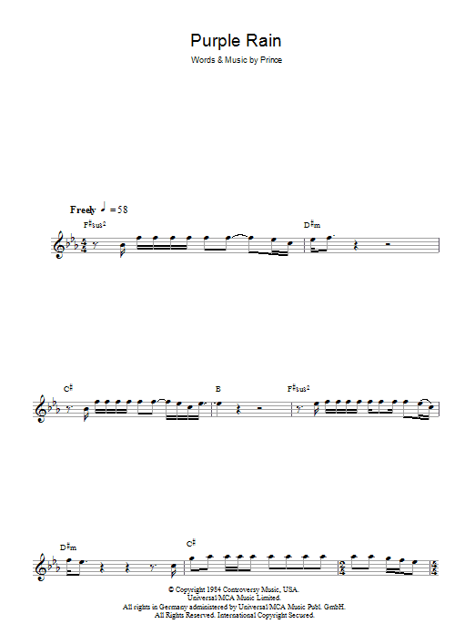 Purple Rain (Lead Sheet / Fake Book)