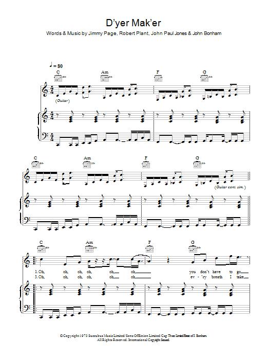 D'yer Mak'er (Piano, Vocal & Guitar)