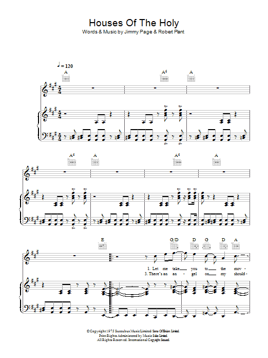 Houses Of The Holy (Piano, Vocal & Guitar)