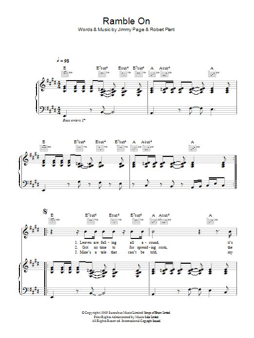 Ramble On (Piano, Vocal & Guitar)