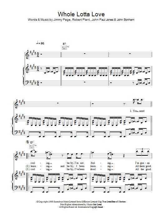 Whole Lotta Love (Piano, Vocal & Guitar)