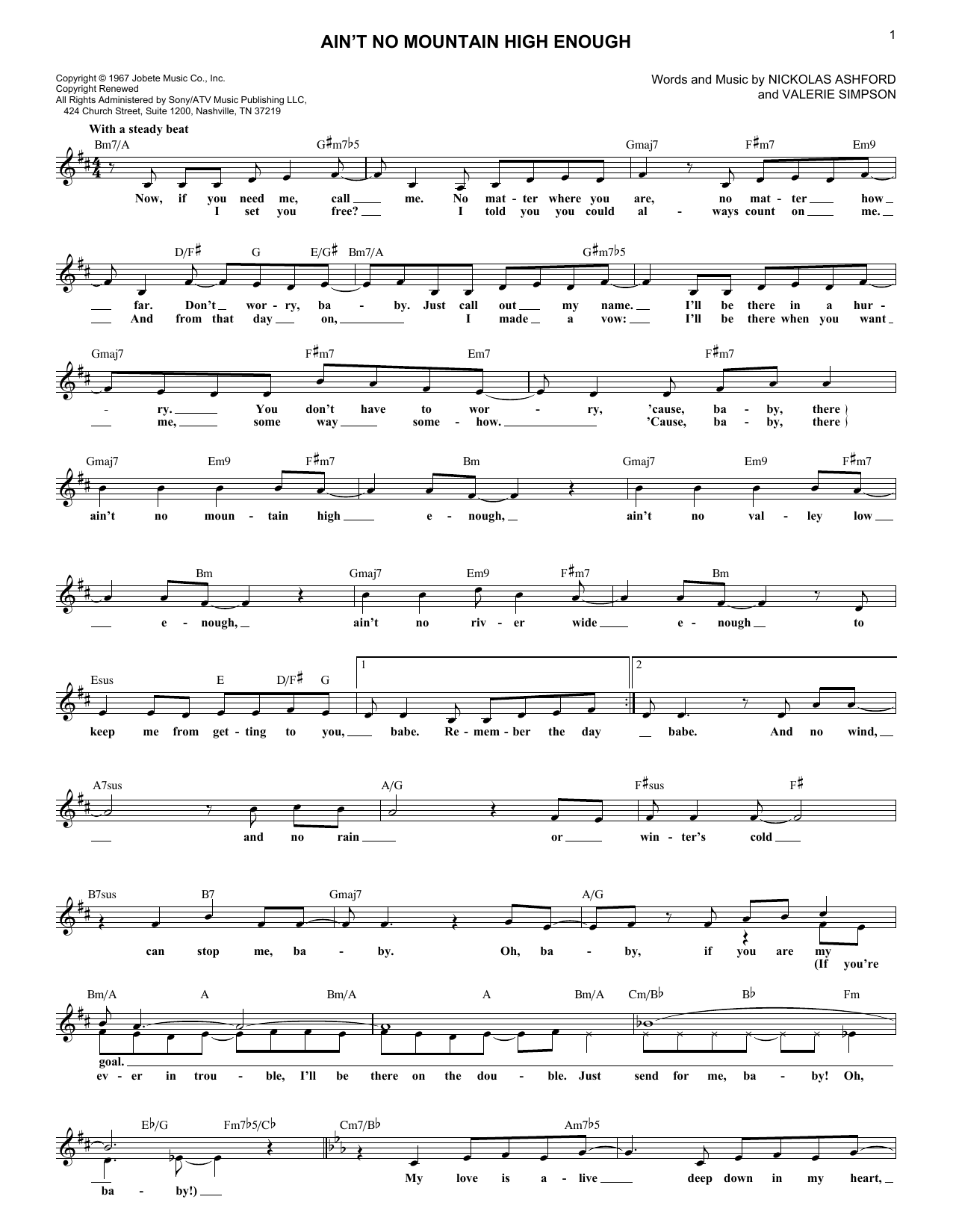 Ain't No Mountain High Enough (Lead Sheet / Fake Book)
