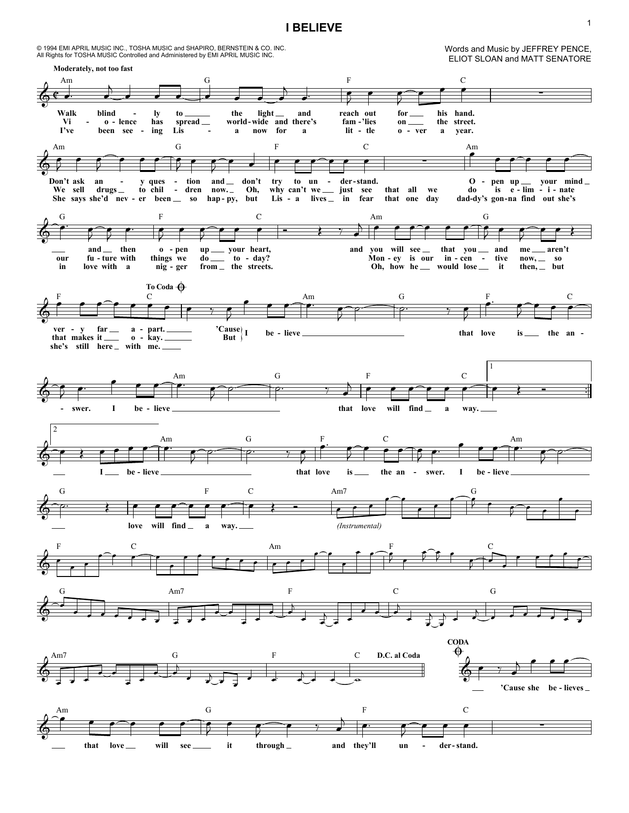 I Believe Sheet Music