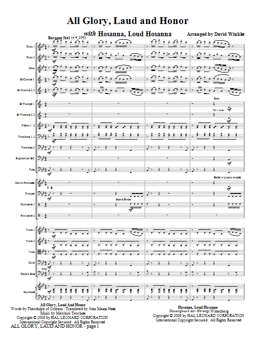 All Glory, Laud, And Honor (with Hosanna, Loud Hosanna) (COMPLETE) sheet music for full orchestra by David Winkler. Score Image Preview.