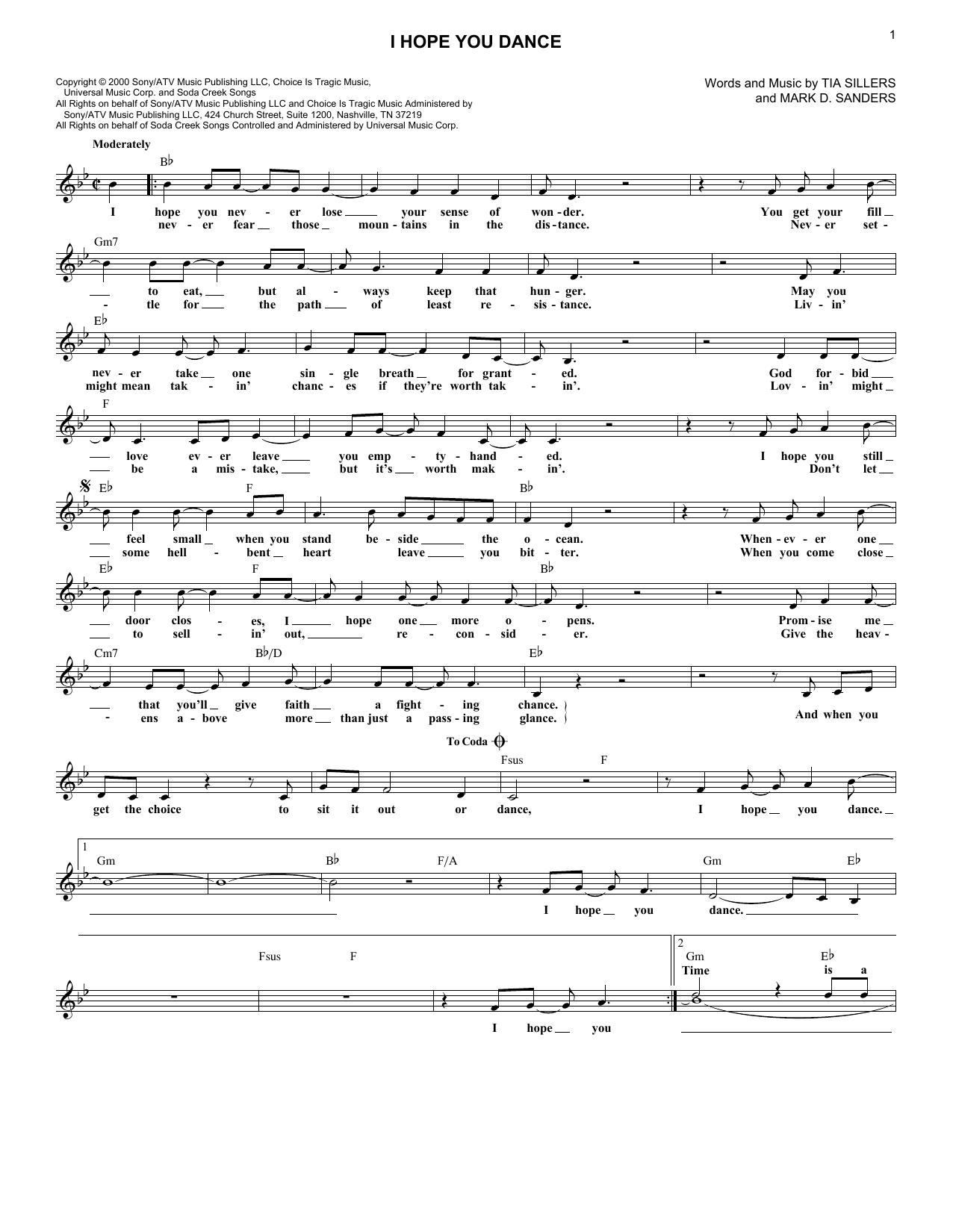 I Hope You Dance Lead Sheet / Fake Book   Print Sheet Music Now