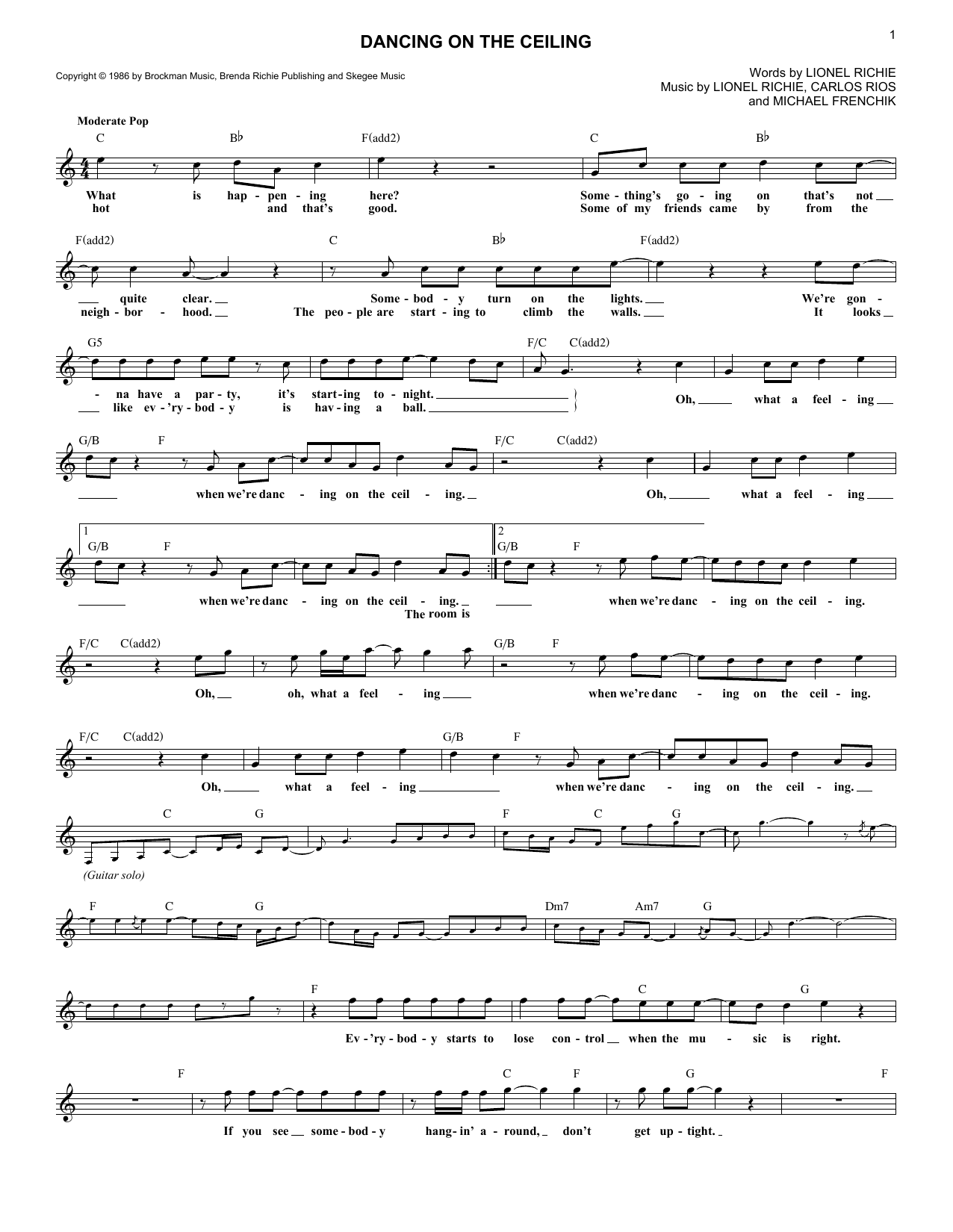 Dancing On The Ceiling (Lead Sheet / Fake Book)