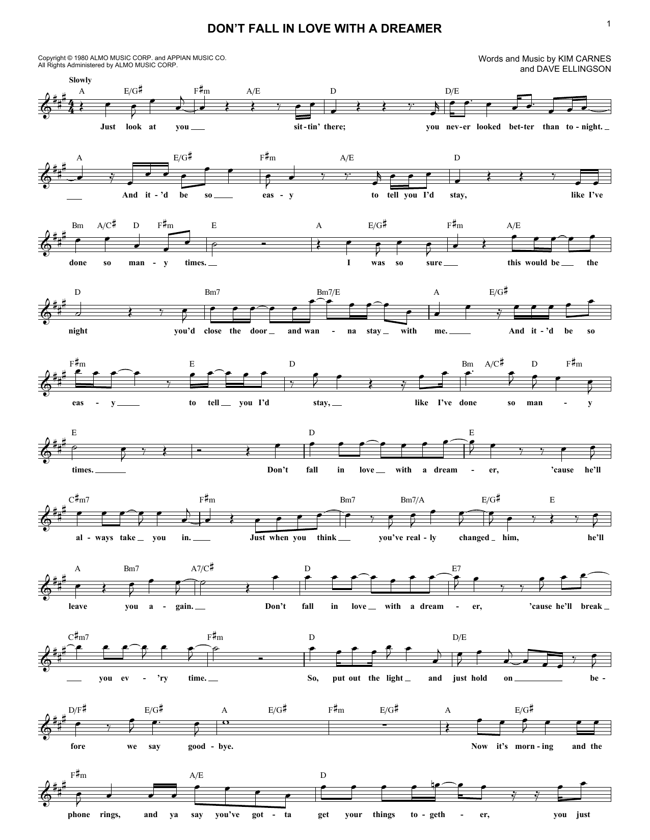 Don't Fall In Love With A Dreamer (Lead Sheet / Fake Book)