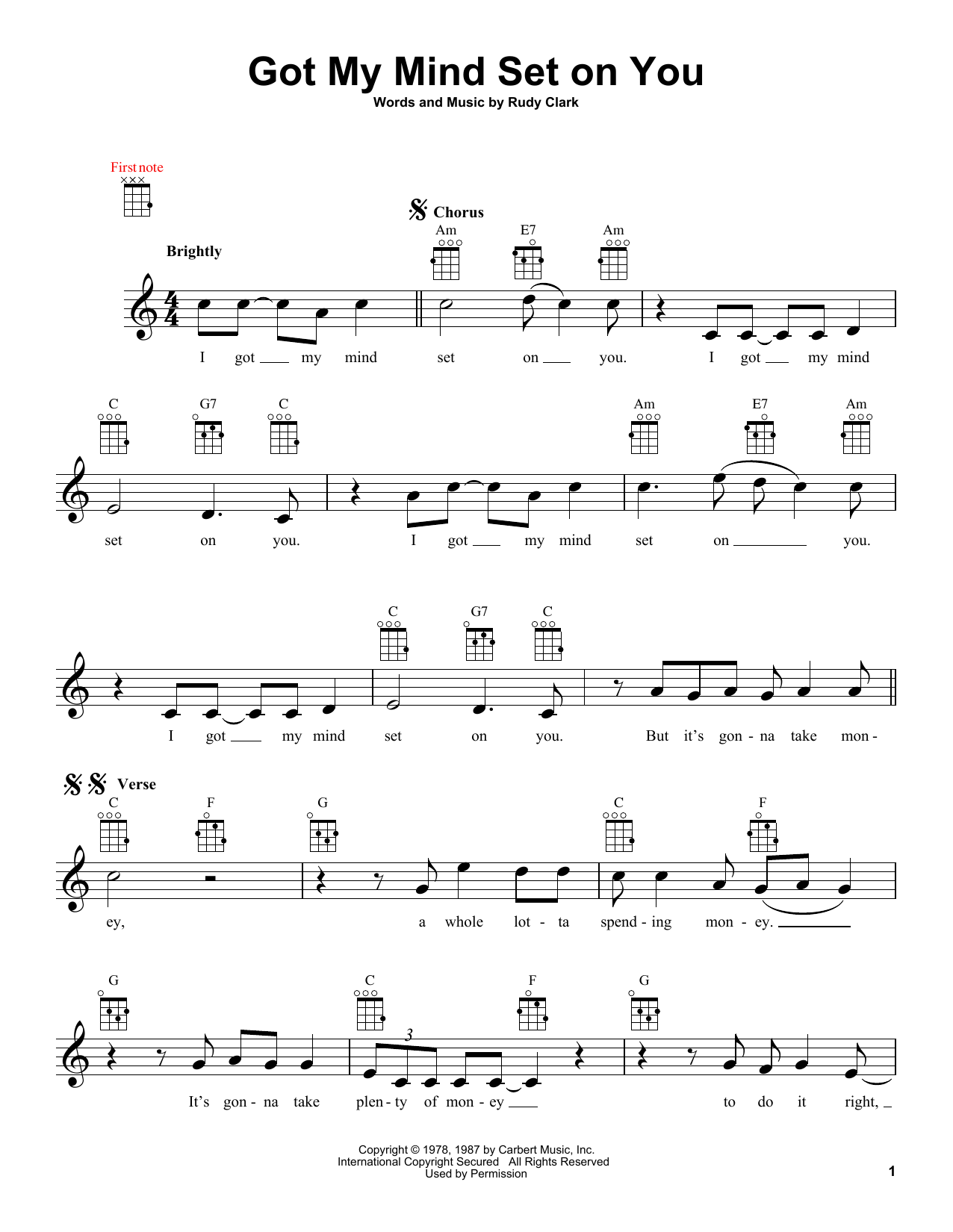 Got My Mind Set On You (Lead Sheet / Fake Book)