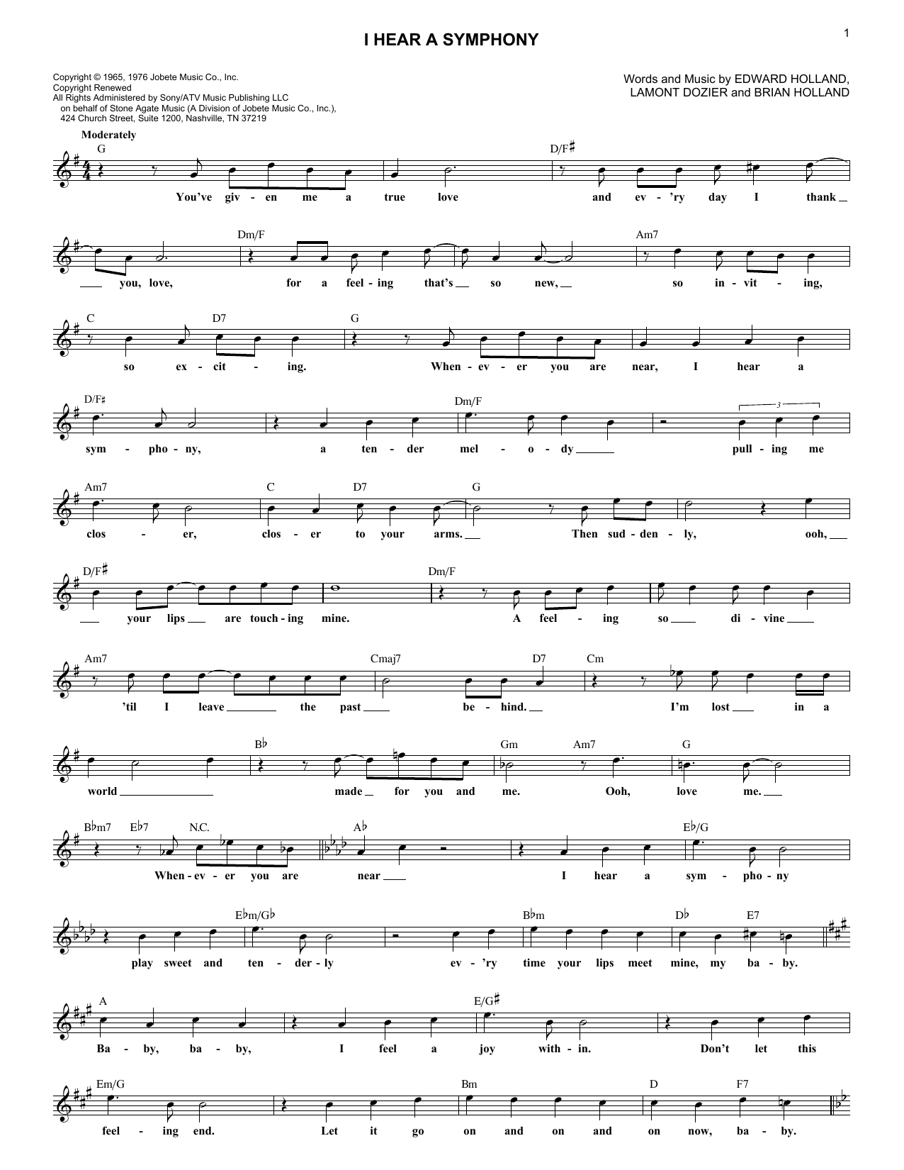 I Hear A Symphony (Lead Sheet / Fake Book)