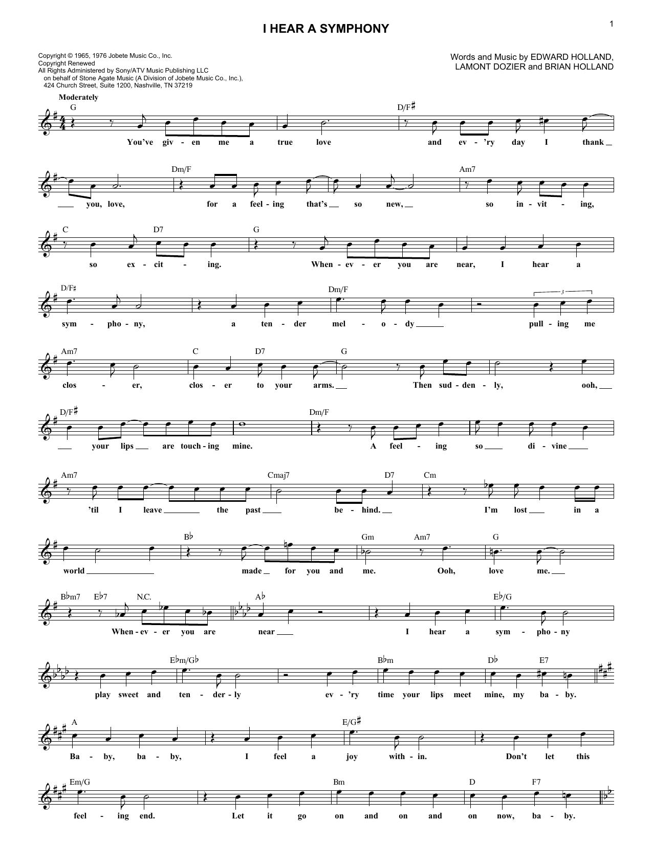 I Hear A Symphony Sheet Music