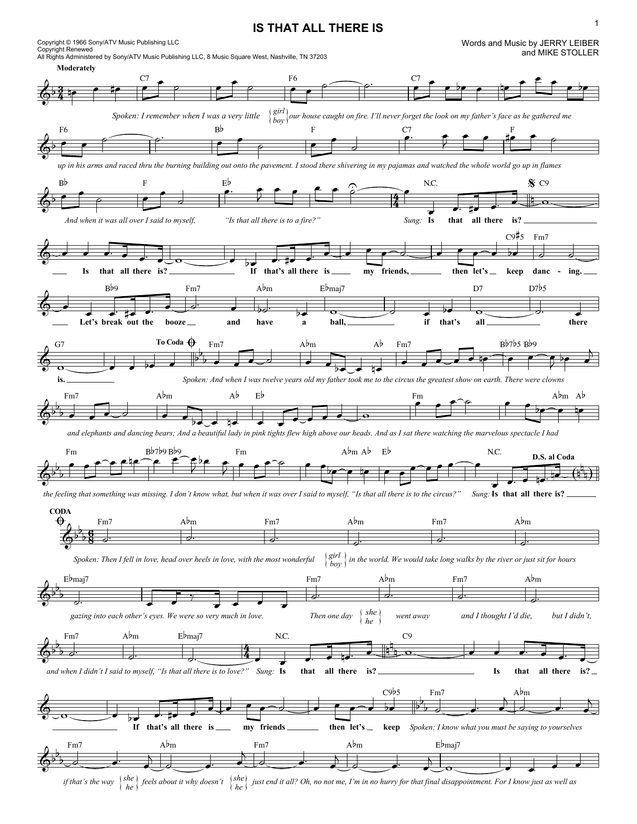 Is That All There Is (Lead Sheet / Fake Book)