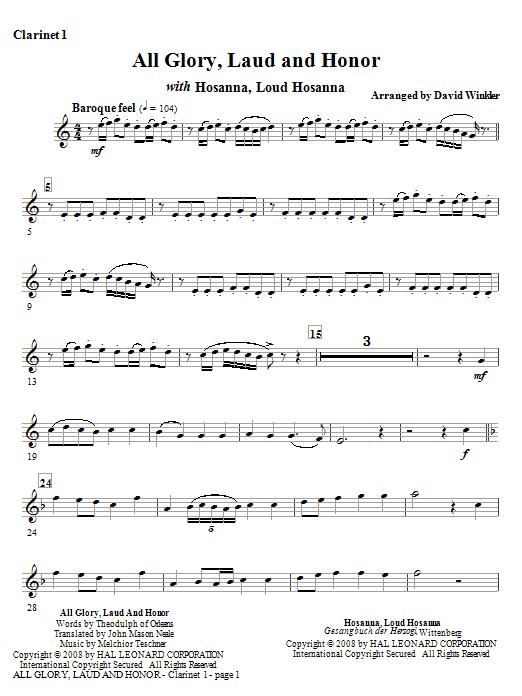 All Glory, Laud, And Honor (with Hosanna, Loud Hosanna) - Bb Clarinet 1 (Full Orchestra)