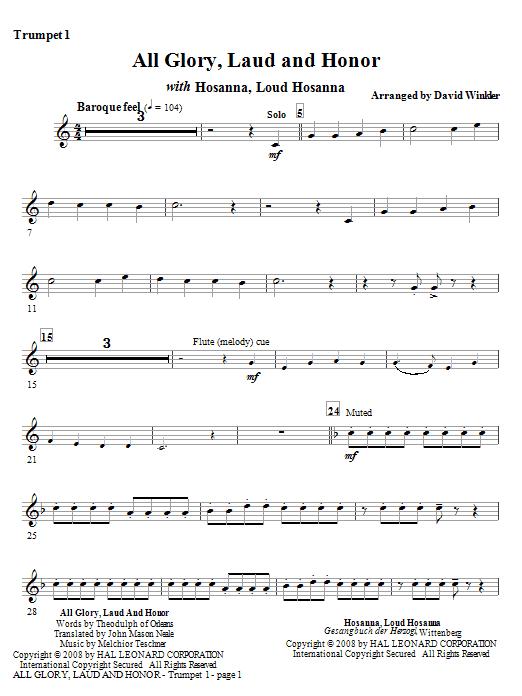 All Glory, Laud, And Honor (with Hosanna, Loud Hosanna) - Bb Trumpet 1 (Full Orchestra)