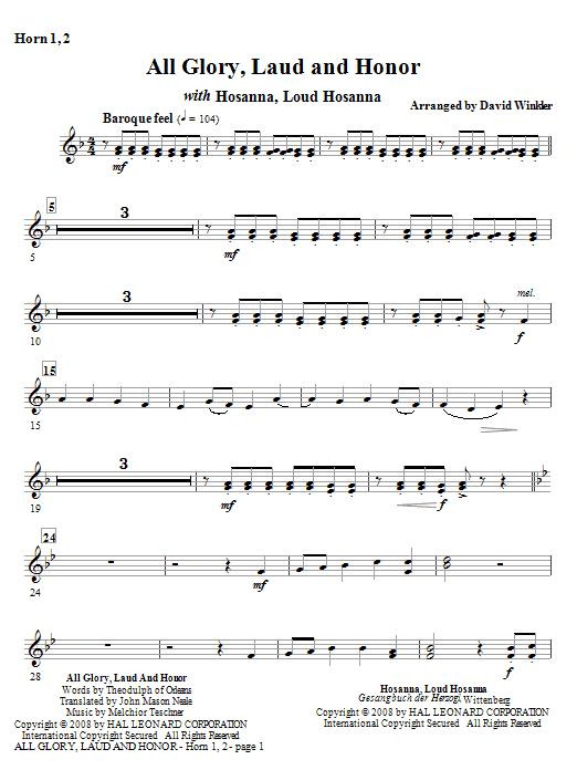 All Glory, Laud, And Honor (with Hosanna, Loud Hosanna) - F Horn 1,2 (Full Orchestra)