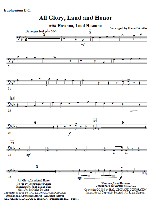 All Glory, Laud, And Honor (with Hosanna, Loud Hosanna) - Euphonium BC (Full Orchestra)
