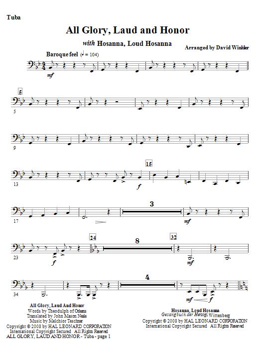 All Glory, Laud, And Honor (with Hosanna, Loud Hosanna) - Tuba (Full Orchestra)