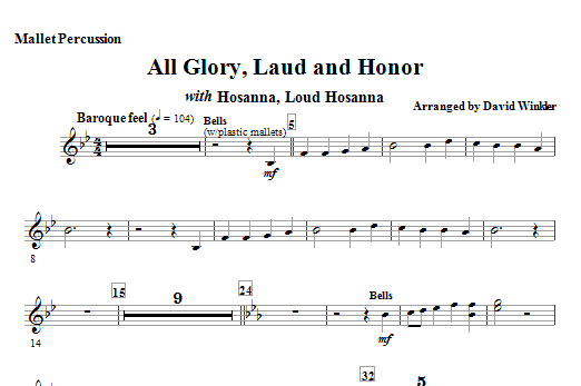 All Glory, Laud, And Honor (with Hosanna, Loud Hosanna) - Mallet Percussion (Full Orchestra)