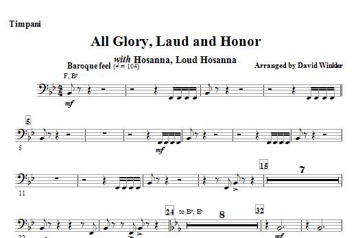 All Glory, Laud, And Honor (with Hosanna, Loud Hosanna) - Timpani (Full Orchestra)