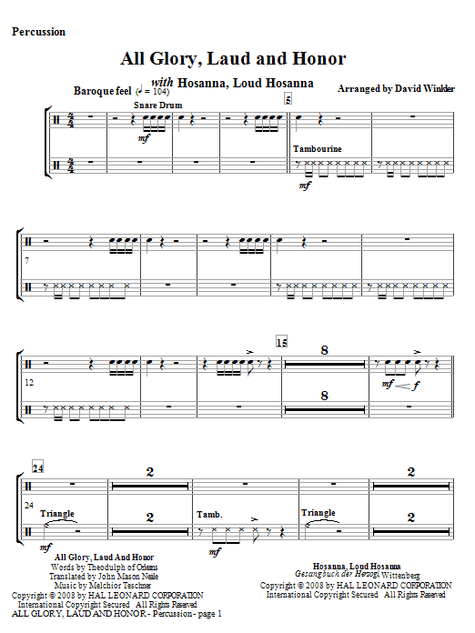 All Glory, Laud, And Honor (with Hosanna, Loud Hosanna) - Percussion (Full Orchestra)