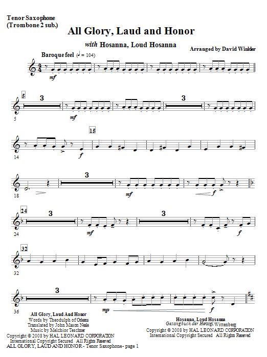 All Glory, Laud, And Honor (with Hosanna, Loud Hosanna) - Tenor Sax (Full Orchestra)