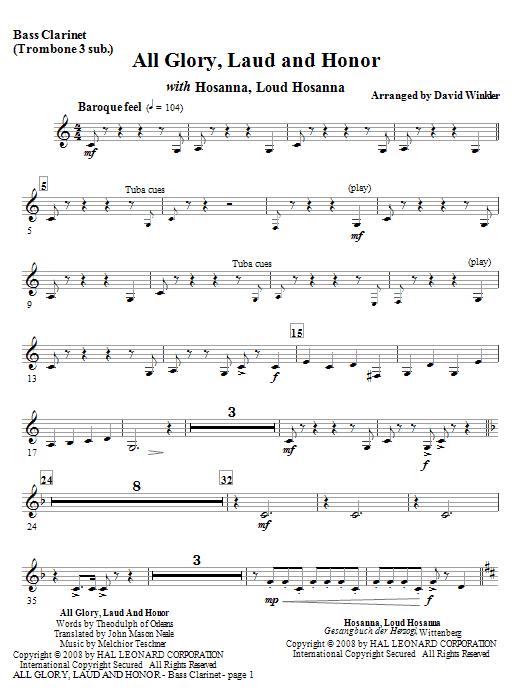 All Glory, Laud, And Honor (with Hosanna, Loud Hosanna) - Bass Clarinet (Full Orchestra)