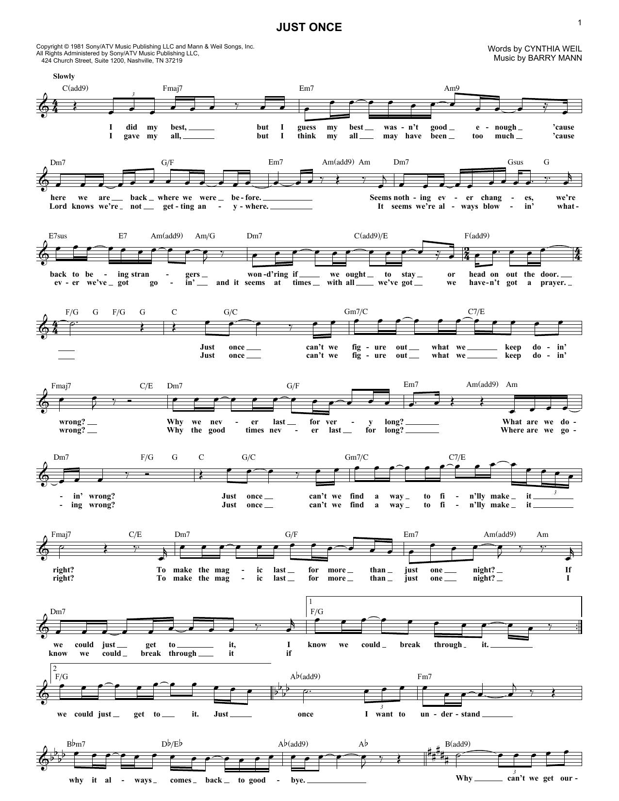 Just Once (feat. James Ingram) (Lead Sheet / Fake Book)