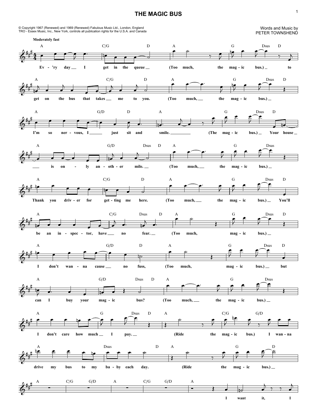 The Magic Bus Sheet Music