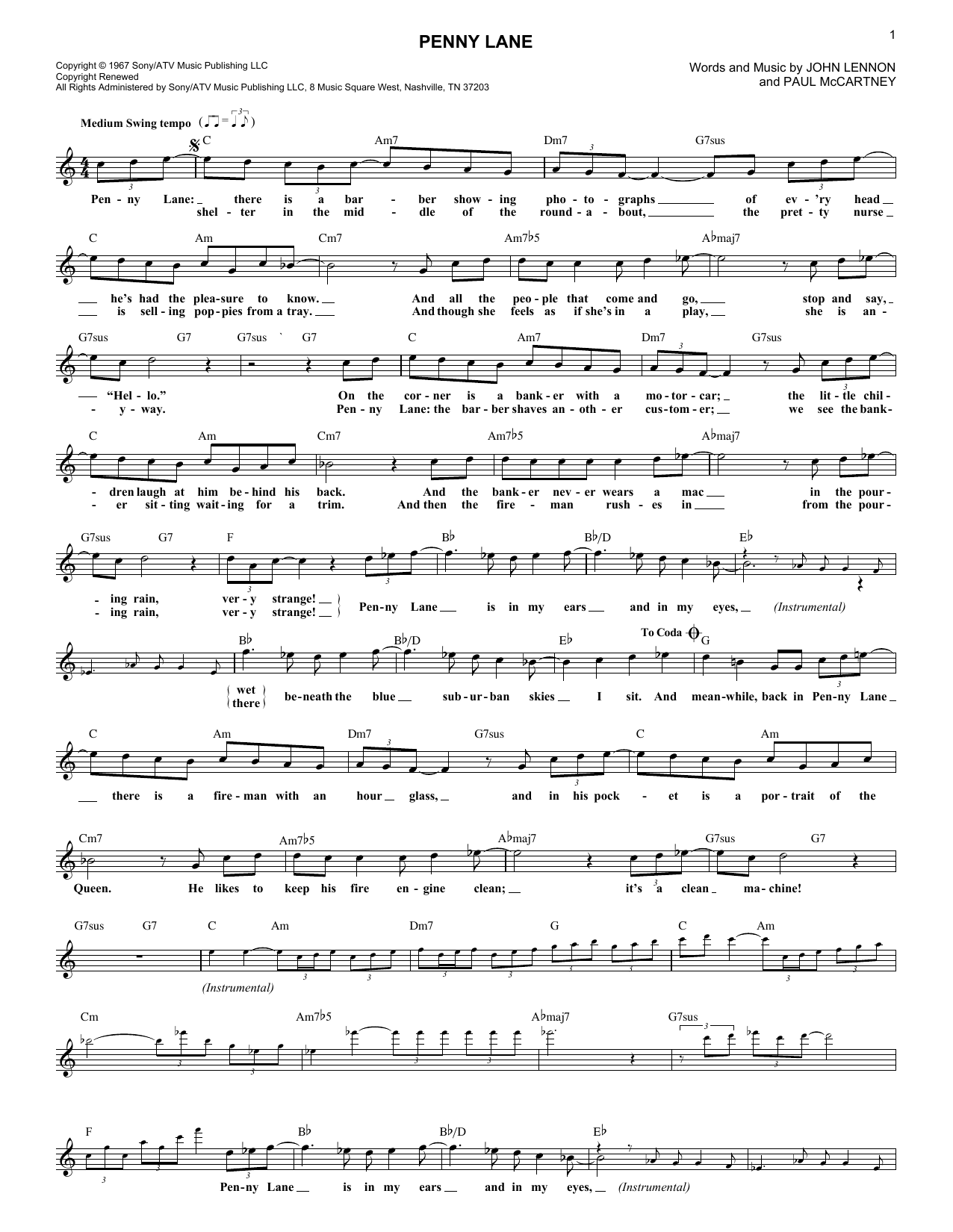 Penny Lane (Lead Sheet / Fake Book)