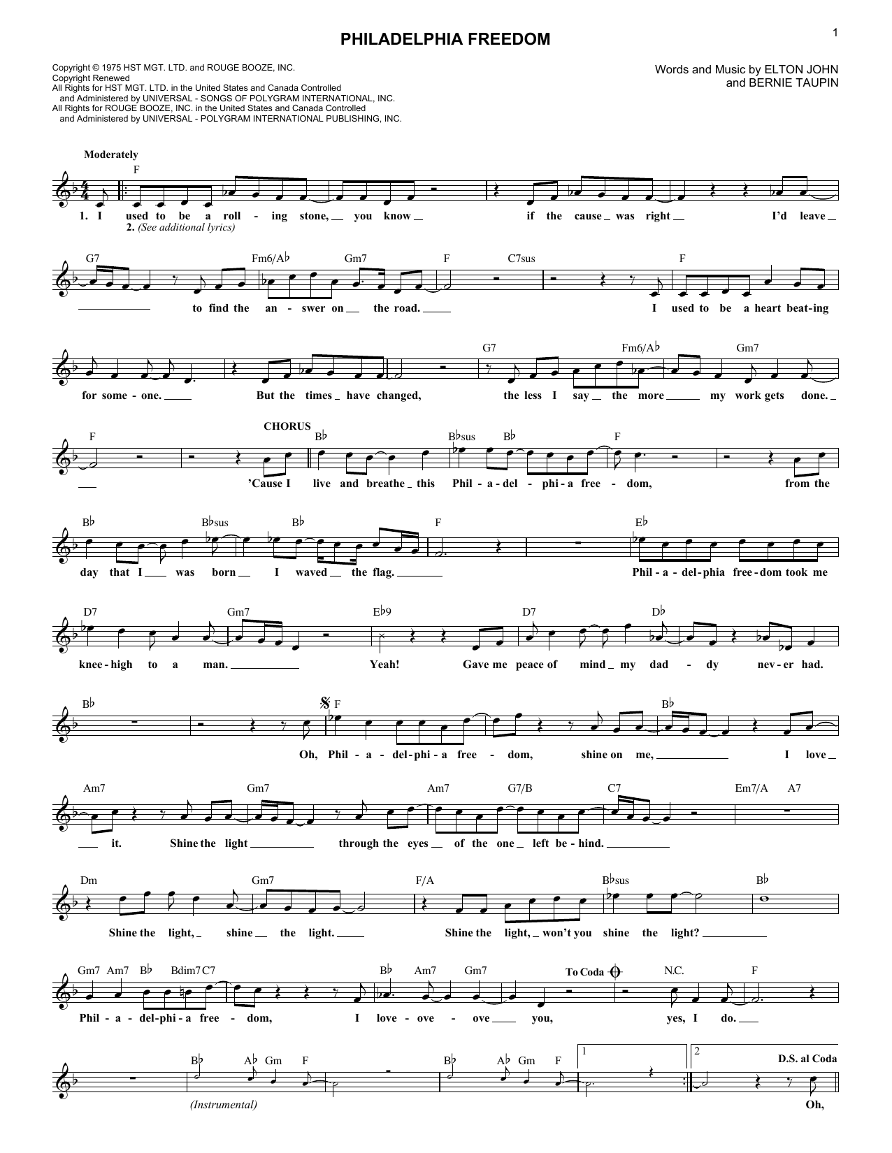 Philadelphia Freedom (Lead Sheet / Fake Book)