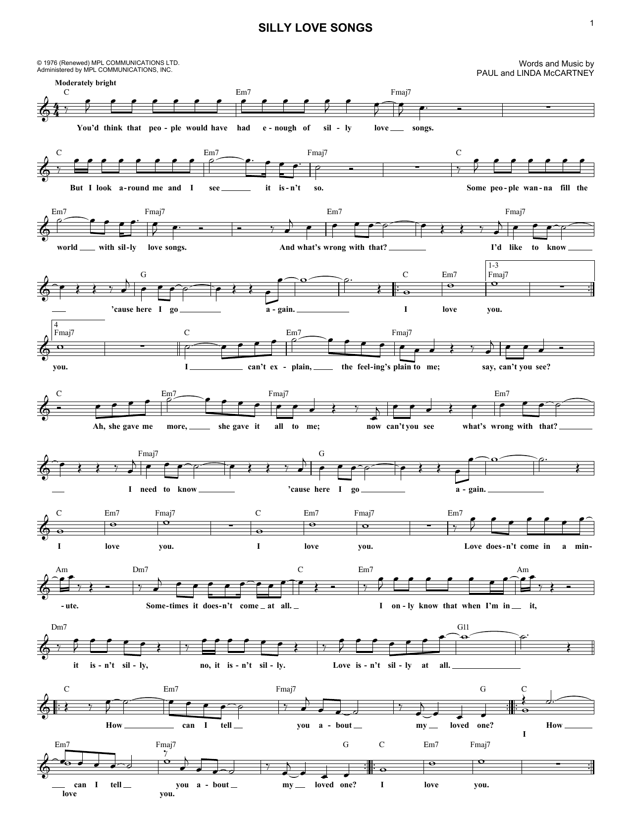 Silly Love Songs (Lead Sheet / Fake Book)
