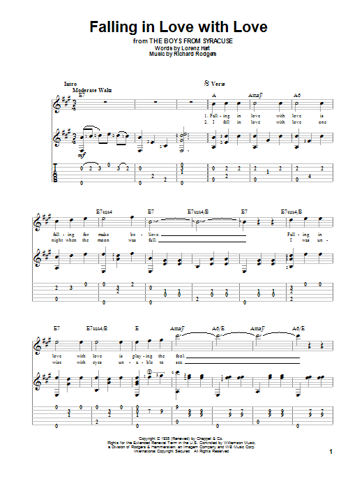 Falling In Love With Love | Rodgers & Hart | Guitar Tab