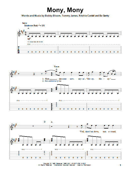 Mony, Mony (Guitar Tab (Single Guitar))