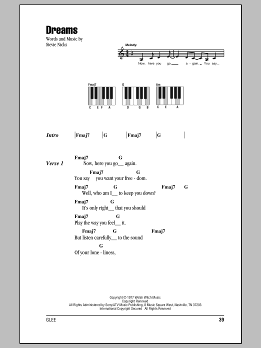dreams sheet music fleetwood mac lyrics piano chords. Black Bedroom Furniture Sets. Home Design Ideas
