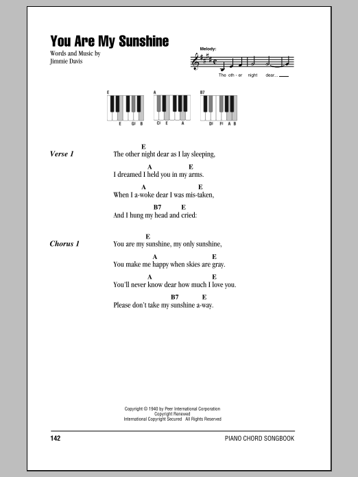 You Are My Sunshine Sheet Music