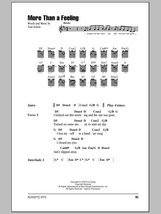 More Than A Feeling by Boston - Guitar Chords/Lyrics - Guitar Instructor