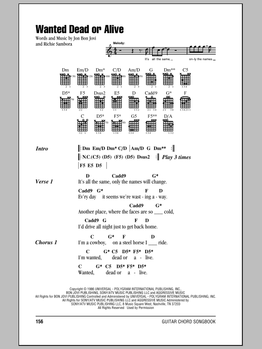 Wanted Dead Or Alive (Guitar Chords/Lyrics)