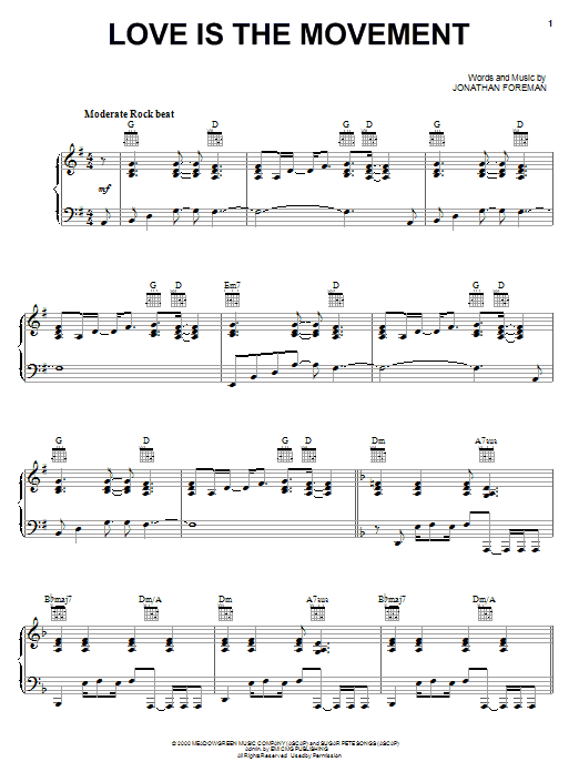 Love Is The Movement (Piano, Vocal & Guitar (Right-Hand Melody))
