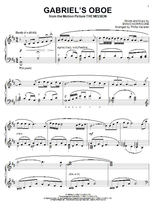 Partition piano Gabriel's Oboe (from The Mission) de Ennio Morricone - Piano Solo