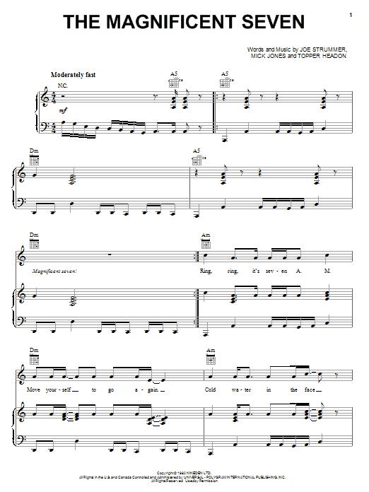 Partition piano The Magnificent Seven de The Clash - Piano Voix Guitare (Mélodie Main Droite)