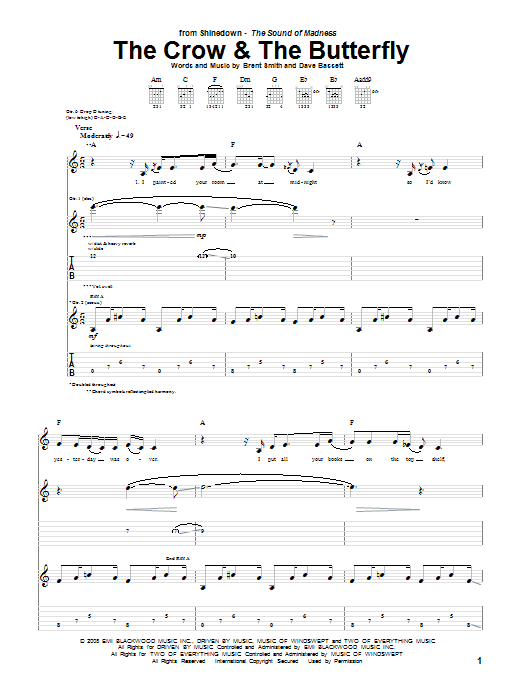 Tablature guitare The Crow & The Butterfly de Shinedown - Tablature Guitare
